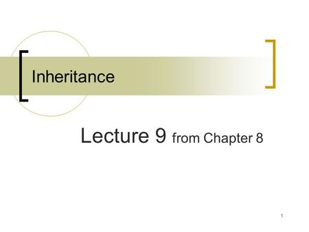 1 Inheritance Lecture 9 from Chapter 8. 2 Review Command line arguments Basic Inheritance Member access and inheritance Using super Creating a multi-level.