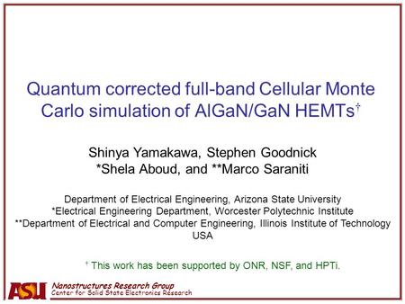 Nanostructures Research Group Center for Solid State Electronics Research Quantum corrected full-band Cellular Monte Carlo simulation of AlGaN/GaN HEMTs.