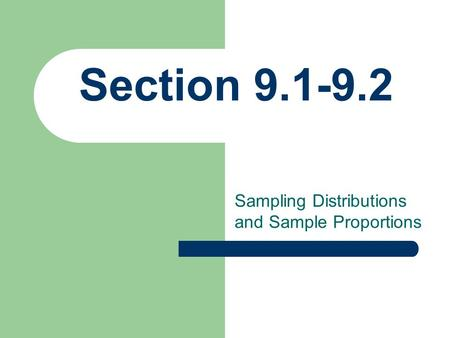 Sampling Distributions and Sample Proportions