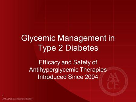 Glycemic Management in Type 2 Diabetes Efficacy and Safety of Antihyperglycemic Therapies Introduced Since 2004 1.