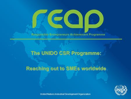 United Nations Industrial Development Organization The UNIDO CSR Programme: Reaching out to SMEs worldwide Responsible Entrepreneurs Achievement Programme.
