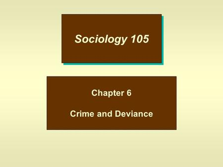 Sociology 105 Chapter 6 Crime and Deviance. Deviance u This is behavior that departs from social norms; –a.Nudist Colony –b.Obesity –c.Body Piercing u.
