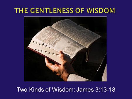 Two Kinds of Wisdom: James 3:13-18.  James 3:13-16 Who among you is wise and understanding? Let him show by his good behavior his deeds in the gentleness.