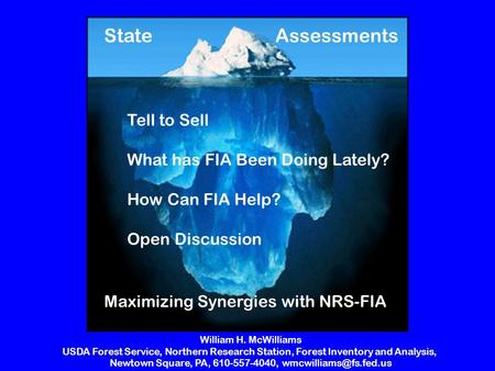 Maximizing Synergies with NRS-FIA AssessmentsState Tell to Sell What has FIA Been Doing Lately? How Can FIA Help? Open Discussion William H. McWilliams.