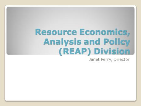 Resource Economics, Analysis and Policy (REAP) Division Janet Perry, Director.