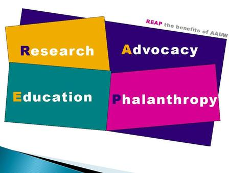 REAP the Benefits of Your AAUW Membership Research Education Advocacy Philanthropy.
