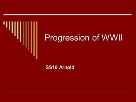 Progression of WWII SS10 Arnold. Early Battles in the Pacific  Philippines attacked hours after PH Outnumbered by Japanese Shortages and disease required.