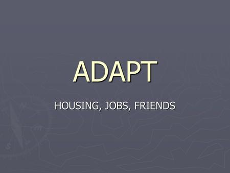 ADAPT HOUSING, JOBS, FRIENDS. Intermediate Schools WORKS TO PROVIDE EDUCATION, WORK, AND SOCIAL SKILLS THAT ARE ESSENTIAL TO SURVIVE IN THE WORLD Mental.
