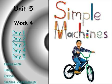 HOME Simple Machines Unit 5 Week 4 Spelling Words Reading Grammar Additional Online Resources Created by Connie Rosenbalm Day 1 Day 2 Day 3 Day 4 Day 5.