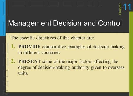 Management Decision and Control