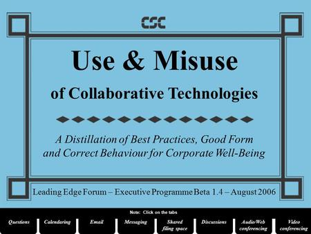 Use & Misuse of Collaborative Technologies A Distillation of Best Practices, Good Form and Correct Behaviour for Corporate Well-Being Leading Edge Forum.