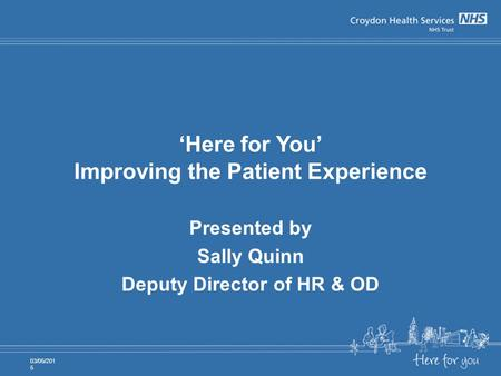 'Here for You' Improving the Patient Experience Presented by Sally Quinn Deputy Director of HR & OD 03/05/2015.