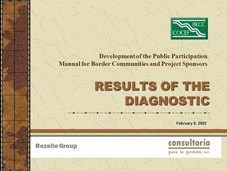 Development of the Public Participation Manual for Border Communities and Project Sponsors RESULTS OF THE DIAGNOSTIC Rozelle Group February 8, 2002.