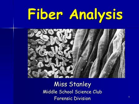 Miss Stanley Middle School Science Club Forensic Division