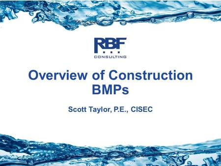 Overview of Construction BMPs