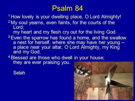 Psalm 84 1 How lovely is your dwelling place, O Lord Almighty! 2 My soul yearns, even faints, for the courts of the Lord; my heart and my flesh cry out.