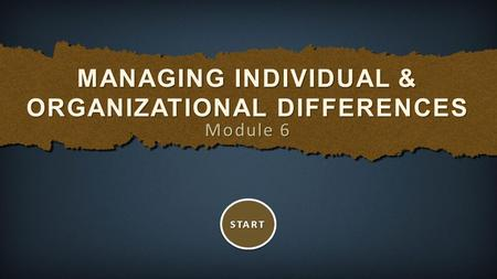Module 6 MANAGING INDIVIDUAL & ORGANIZATIONAL DIFFERENCES START.