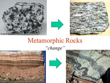 "Metamorphic Rocks ""change"". I. Agents of Metamorphism."