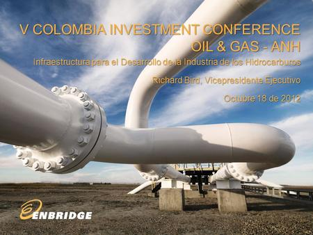 V COLOMBIA INVESTMENT CONFERENCE OIL & GAS - ANH Infraestructura para el Desarrollo de la Industria de los Hidrocarburos Richard Bird, Vicepresidente Ejecutivo.