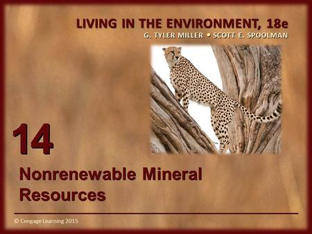 © Cengage Learning 2015 LIVING IN THE ENVIRONMENT, 18e G. TYLER MILLER SCOTT E. SPOOLMAN © Cengage Learning 2015 14 Nonrenewable Mineral Resources.