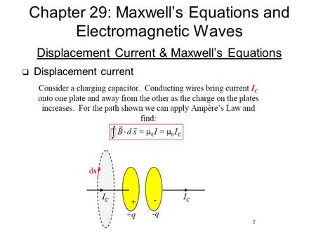 Displacement Current & Maxwell's Equations  Displacement current Chapter 29: Maxwell's Equations and Electromagnetic Waves.