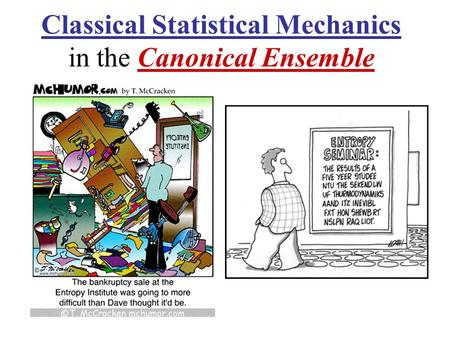 Classical Statistical Mechanics in the Canonical Ensemble.