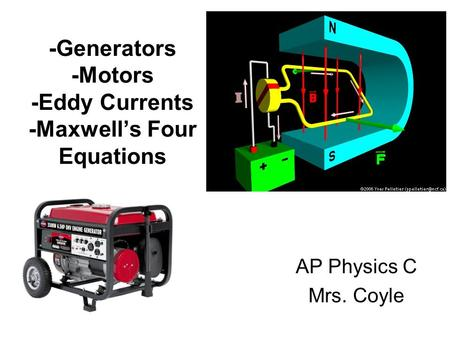 -Generators -Motors -Eddy Currents -Maxwell's Four Equations AP Physics C Mrs. Coyle.