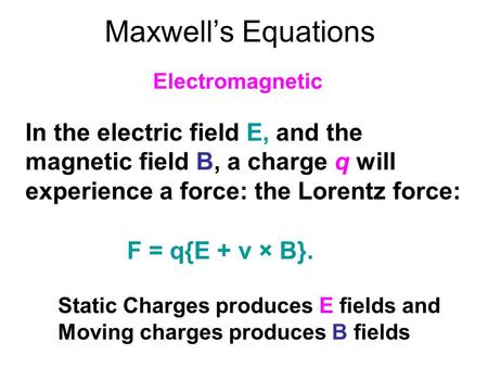 Maxwell's Equations Electromagnetic
