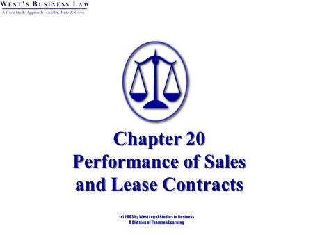 Chapter 20 Performance of Sales and Lease Contracts.