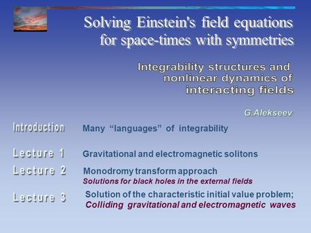 Gravitational and electromagnetic solitons Monodromy transform approach Solution of the characteristic initial value problem; Colliding gravitational and.