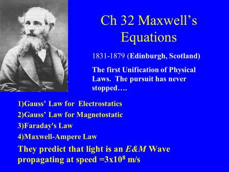 Ch 32 Maxwell's Equations 1)Gauss' Law for Electrostatics 2)Gauss' Law for Magnetostatic 3)Faraday's Law 4)Maxwell-Ampere Law They predict that light is.