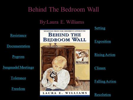 Resistance Documentation Pogrom Jungmadel Meetings Tolerance Freedom Behind The Bedroom Wall By:Laura E. Williams Setting Exposition Rising Action Climax.