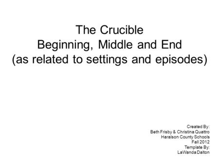 The Crucible Beginning, Middle and End (as related to settings and episodes) Created By: Beth Frisby & Christina Quattro Haralson County Schools Fall 2012.