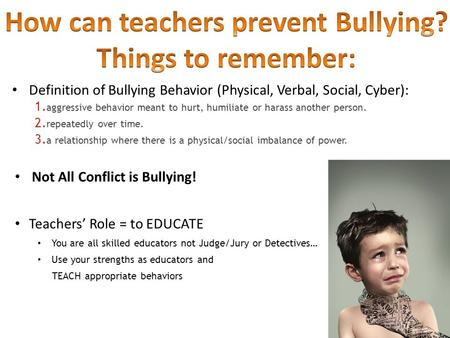 Definition of Bullying Behavior (Physical, Verbal, Social, Cyber): 1. aggressive behavior meant to hurt, humiliate or harass another person. 2. repeatedly.