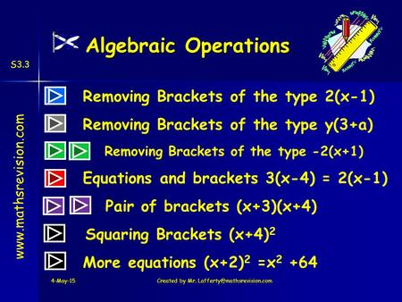 Www.mathsrevision.com S3.3 Algebraic Operations Removing Brackets of the type 2(x-1) Pair of brackets (x+3)(x+4) Removing Brackets of the type y(3+a) Removing.