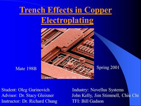 Trench Effects in Copper Electroplating Student: Oleg Gurinovich Industry: Novellus Systems Advisor: Dr. Stacy Gleixner John Kelly, Jim Stimmell, Chiu.