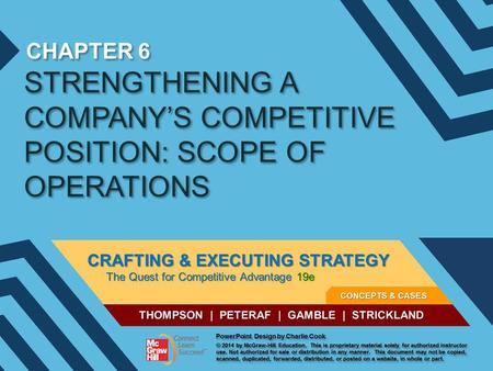 STRENGTHENING A COMPANY'S COMPETITIVE POSITION: SCOPE OF OPERATIONS