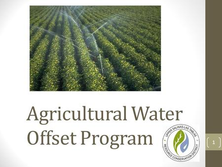 Agricultural Water Offset Program 1. Background County Planning Department contracted the RCD to design a water use offset program for agriculture users.