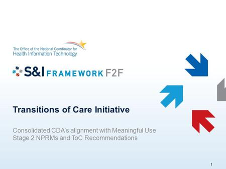 Transitions of Care Initiative Consolidated CDA's alignment with Meaningful Use Stage 2 NPRMs and ToC Recommendations 1.