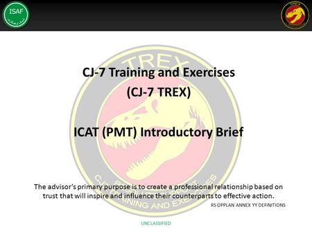 CJ-7 Training and Exercises ICAT (PMT) Introductory Brief