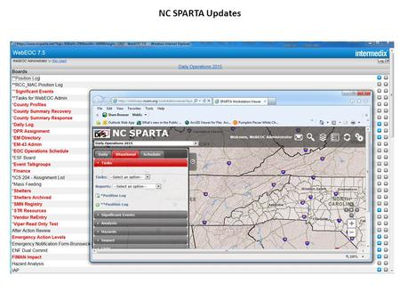 NC SPARTA Updates. Launching NC SPARTA NC SPARTA supports Firefox, Chrome and Internet Explorer Some users experiencing issues with Internet Explorer.