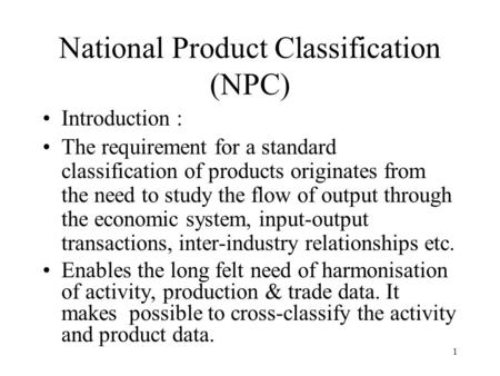 National Product Classification (NPC)