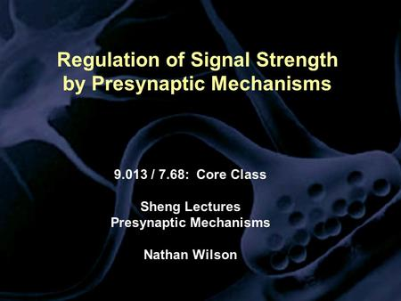 Regulation of Signal Strength by Presynaptic Mechanisms 9.013 / 7.68: Core Class Sheng Lectures Presynaptic Mechanisms Nathan Wilson.