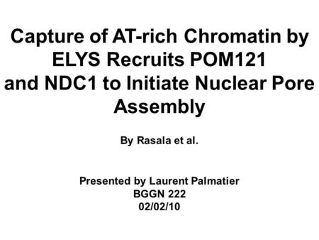 Capture of AT-rich Chromatin by ELYS Recruits POM121 and NDC1 to Initiate Nuclear Pore Assembly By Rasala et al. Presented by Laurent Palmatier BGGN 222.