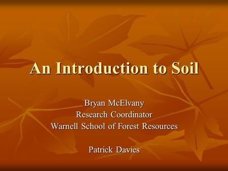 An Introduction to Soil Bryan McElvany Research Coordinator Warnell School of Forest Resources Patrick Davies.