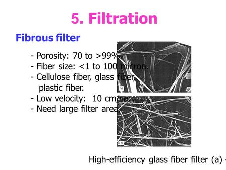 5. Filtration Fibrous filter High-efficiency glass fiber filter (a) 4150x (b) 800x. - Porosity: 70 to >99%. - Fiber size: <1 to 100 micron. - Cellulose.
