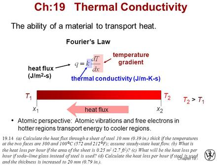 Chapter 19 - The ability of a material to transport heat. temperature gradient thermal conductivity (J/m-K-s) heat flux (J/m 2 -s) Atomic perspective:
