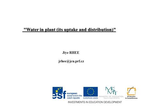 Water in plant (its uptake and distribution) Water in plant (its uptake and distribution) Jiye RHEE