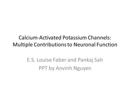 Calcium-Activated Potassium Channels: Multiple Contributions to Neuronal Function E.S. Louise Faber and Pankaj Sah PPT by Anvinh Nguyen.
