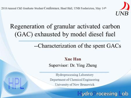 Regeneration of granular activated carbon (GAC) exhausted by model diesel fuel Xue Han Supervisor: Dr. Ying Zheng Hydroprocessing Laboratory Department.